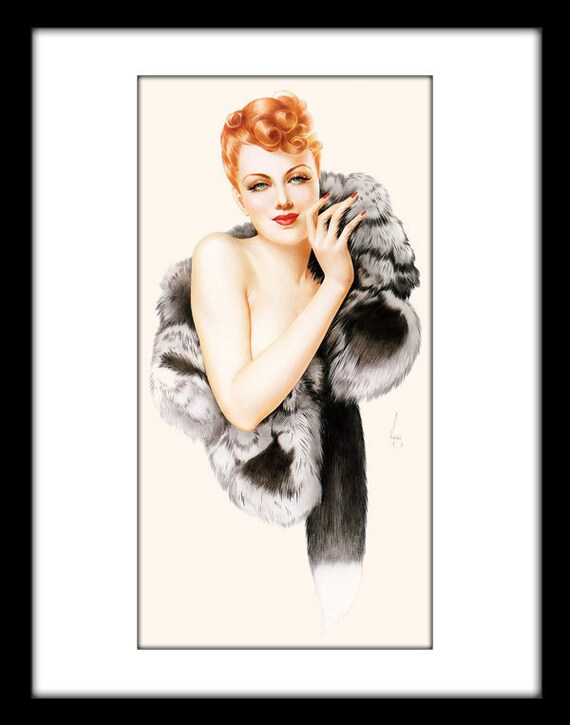 """Vargas Pin Up Girl - Digital Sheet CP-39 - Print It Yourself - Instant Wall Decor - 4""""x8"""""""