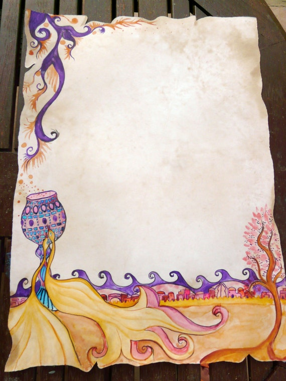 ketubah- The Jerusalem blessing birds- handpainted-ready to custom