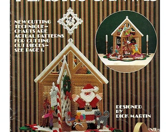 Santa's Worshop and ornaments in Plastic Canvas Pattern Leaftlet Leisure Arts 361