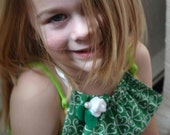 Set Green Clover Shamrock Ruffle Necklace and fabric cuff bracelet, girls teens women St. Patrick's Irish white rose pearl button lucky