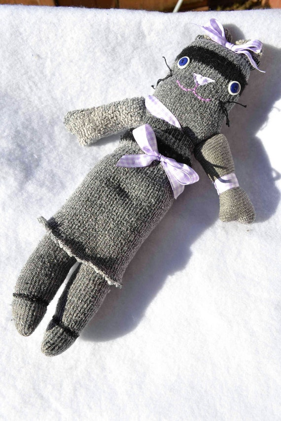 SALE Miss Sock Mouse lavender purple gray plush stuffed upcycled art doll purple black rustic shabby girls birthday Christmas kids dress-up