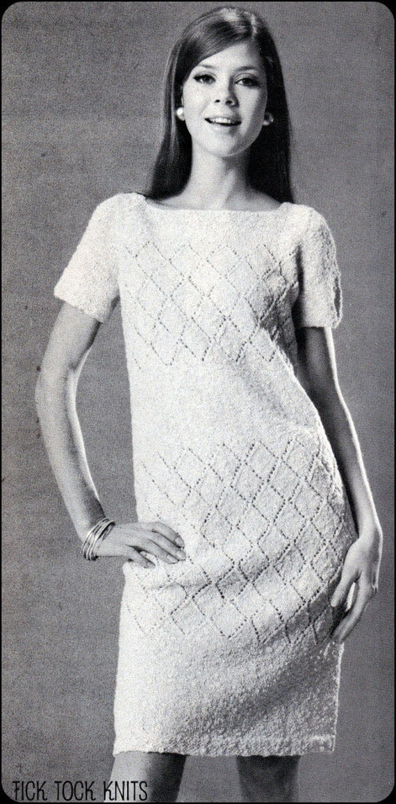 """No.167 PDF Vintage Knitting Pattern - Instant Download - Women's Diamond Lace Knit Dress - Finished Bust Sizes 37.5"""" and 42"""""""