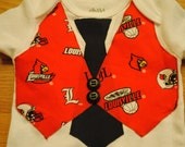 Variety of Teams Available -- University of Louisville Tie and Vest Bodysuit/Infant One Piece or Toddler Shirt