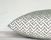 Grey Pillow Cover - Designer Greek Cross - 18x18 inch Decorative Cushion Cover - Greek Key with Zipper