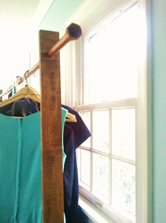 Solid Maple & Copper Clothing Rack- Original Design Reclaimed Wood Garment Racks