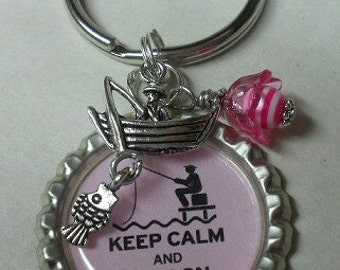 Fishing Key Chain Zipper Pull Beaded  With Charm Keyring  Bottle Cap Pink