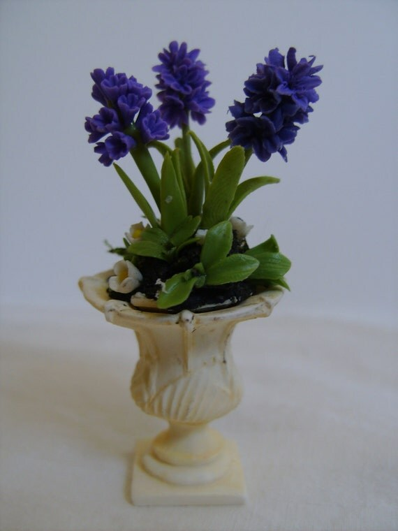 RESERVED for Jessie, Royal Purple Hyacinths in Neoclassic Urn Planter, One Inch Scale