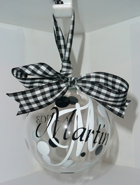 Beautiful Preppy 2012 Glass FAMILY Ornament - White and Black 4 inch