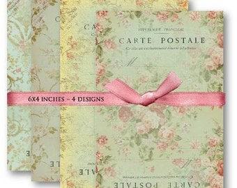 Digital Images - Digital Collage Sheet Download - Shabby Chic Carte Postale -  457  - Digital Paper - Instant Download Printables