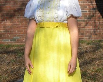 Clearance Yellow 70s Empire Waist Maxi Dress