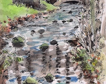 Fine art landscape of Bridge over Squeaky Creek signed by the artist art print 8.5x11.