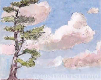 Eastern white pine and pink sunset clouds, landscape and scenic art kids wall decor nursery children room decor archival Print signed 8.5x11