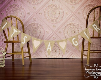 It's A Girl Burlap Banner / Baby Shower Decoration / Maternity Photography Prop