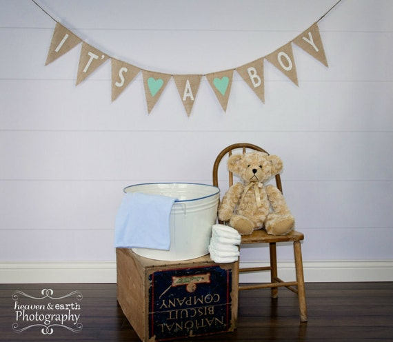 It's A Boy Burlap Banner / Baby Shower Decoration / Maternity Photography Prop