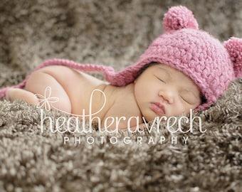 Baby Bear Hat, Double Pom-Pom Earflap Beanie