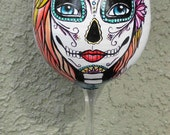 Day of the Dead hand painted Wine Glass with Lotus Flowers, made to order