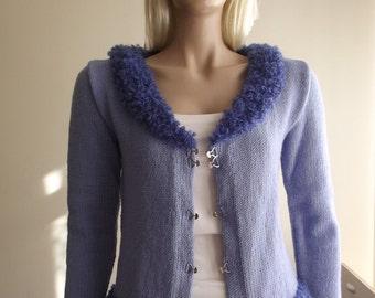 Blue Sheep - Hand Knit Cardigan / Furry Cardigan / Curly Cardigan / Blue Cardigan / Furry Collar / Furry Edges / Long Sleeve / 30% OFF !!!