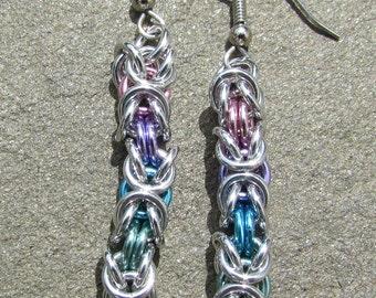 Chain Maille Earrings, Byzantine Earrings, Pastel Earrings, Ring Jewelry, Multicolor Earrings