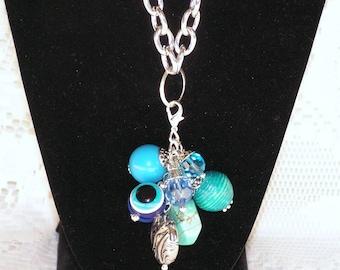 Charms Mystic Dream - Chunky Bead Necklace Charm Cluster, Bead Necklace, Beaded Charm Necklace, Charm Necklace, Beaded Necklace