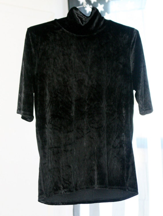 Black Stretchy Crushed Velvet 90s Mock Neck Shirt