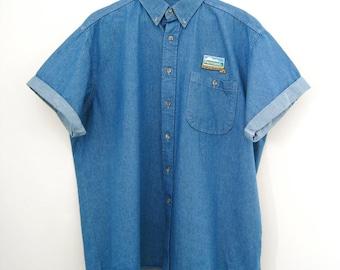 Vintage Men's Short Sleeve Denim Shirt - Size XL