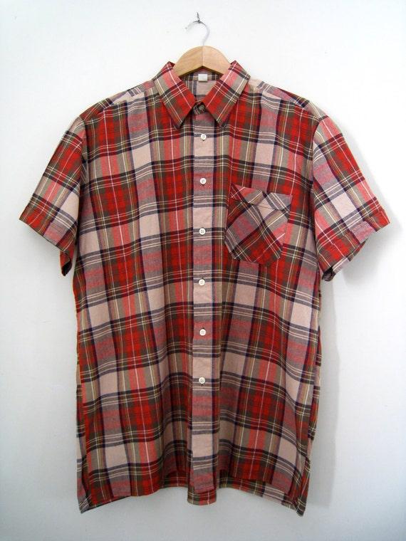 Vintage Mens Check Shirt - Short Sleeve - Size XL
