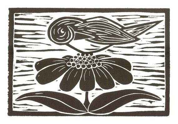 Bird on a Flower original block print 4x6, black ink