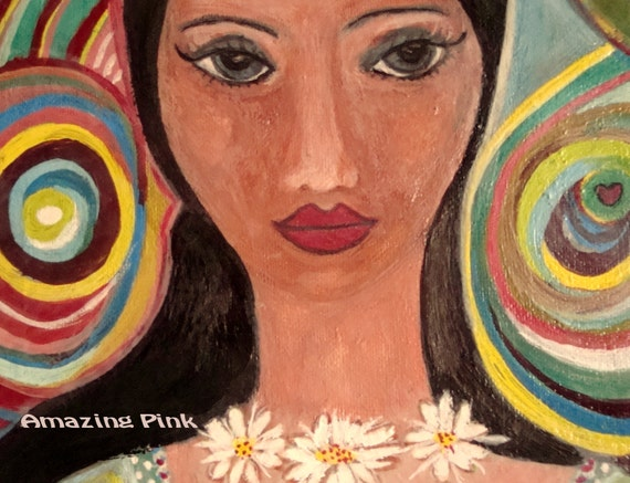 """Colorful Life, Original Mixed Media Painting on 9,5"""" x 12"""" Canvas"""