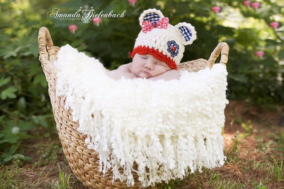 Baby Bear Hat - Patriotic Hat - Photography Prop - Red White and Blue - Newborn Girl