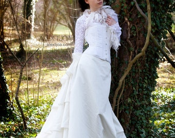 Wedding Dress Noce with Lace Top, Boned Corset and Silk skirt with FrouFrou.
