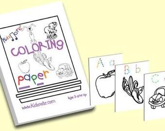 Kids Printable Coloring Sheets - Preschool, Kindergarten PDF Digital Coloring Sheets include Traceable Color Coded Alphabet Letters