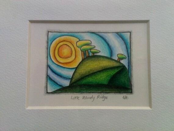 SALE Minature original drawing of Wales 'Little Windy Ridge' Welsh Art SALE