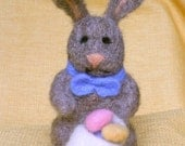 Easter Bunny Rabbit with Basket of Eggs Needle Felted Soft Sculpture Spring Decoration