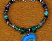 HEART BRACELET, Stainless Steel, Semi Precious Stones, Green Blue, Glass, Bali Silver, Resin,  Elegant , Innovative, Dare  to Wear, OOAK