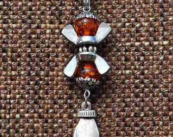NECKLACE EYECATCHER, SILVER Pendant, Healing Hand Charm, Stainless Steel, Amber, Glass Beads, Wing Nuts