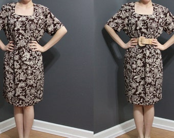 REDUCED /// Vintage 1990s Brown Floral Dress