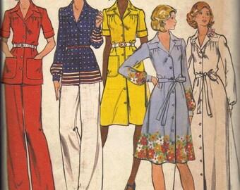 Butterick Sewing Pattern 70s Shirt Dress Maxi Long Sleeve Button Front Retro Disco Dress Tie Belt Pants Blouse Uncut FF Bust 41 Plus Size