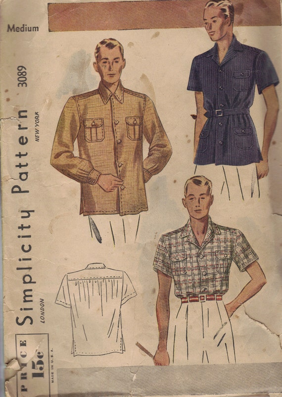 1930s Simplicity Sewing Pattern Bing Crosby Style Men's Lounge Shirt Long Short Sleeve Button Front Notched Collar Size Medium