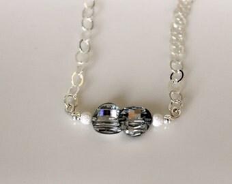 Vintage White Diamond Swarovski Crystal Necklace - Cocktail Jewelry - Lux Sterling Silver Choker - Handmade by Girlthree