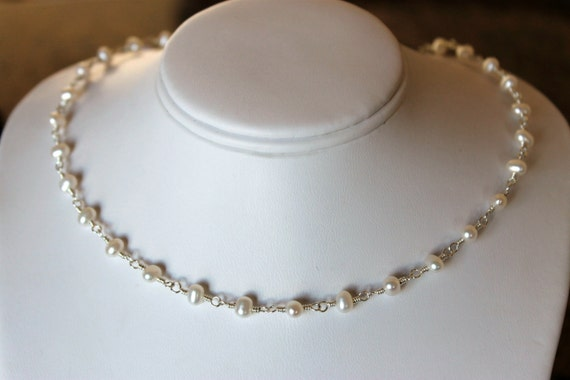 tin cup necklace AA freshwater pearl choker sterling silver with pearls