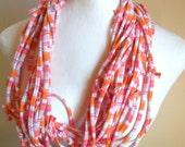 Upcycled  Pastel Pink Orange Striped Jersey Scarf Tangerine White Stripes Fall Fashion Repurposed Clothing Womens Boho Infinity Scarf