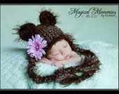 Baby Girl Hat Newborn Baby Girl/Boy Crochet Fuzzy Bear Hat With Ear Flaps FREE Shipping 0 3 6 months Baby bear hat