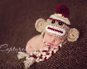 Baby Boy Hat CUTE Newborn Baby Boy or Girl Crochet Sock Monkey Hat With Ear Flaps FREE Shipping 0 3 6 months
