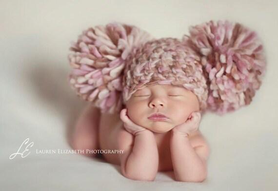 Baby Girl Hat Newborn Baby Girl Crochet Chunky Pom Pom Hat Cream, Brown, pink  Photography Prop