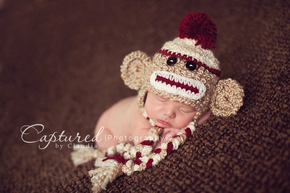 Baby Boy Hat READY to Ship Newborn Baby BoyCrochet Sock Monkey Hat With Ear Flaps FREE Shipping RTS