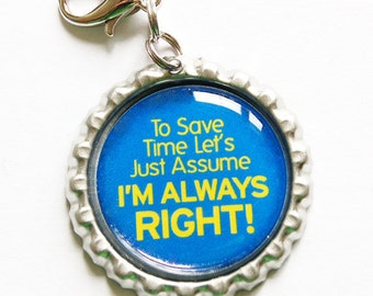 Funny zipper pull, backpack zipper pull, zipper pull, purse charm, bag charm, bottle cap, backpack charm, Humor, Blue (1042)