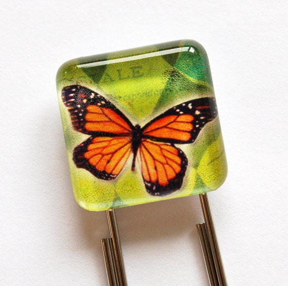 Butterfly Bookmark, Glass Bookmark, book mark, Butterfly, monarch butterfly (591)