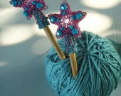 Crocheted Wire Starfish Serenade Hair Sticks in Pink