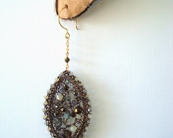 Crystal Matrix Earrings Stained Glass Effect Crocheted Wire
