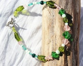 Anklet Beaded Handmade Shades Of Green And Pink